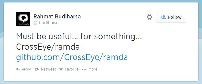 "Rahmat Budhisaro Tweet: ""Must be useful... for something... ramda"""